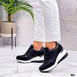 Сникерсы / кроссовки  женские белые с черным эко кожа+ текстиль, фото 4