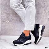 Сникерсы / кроссовки  женские белые с черным эко кожа+ текстиль, фото 7