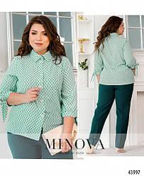 Ніжна блуза батал з привабливим принтом размеры: 46-48, 50-52, 54-56, 58-60, 62-64, 66-68
