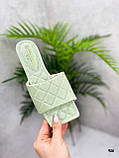 Шльопанці жіночі зелені - фісташкові з квадратним носком еко шкіра, фото 2
