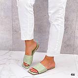 Шльопанці жіночі зелені - фісташкові з квадратним носком еко шкіра, фото 3