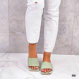 Шльопанці жіночі зелені - фісташкові з квадратним носком еко шкіра, фото 5