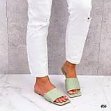 Шльопанці жіночі зелені - фісташкові з квадратним носком еко шкіра, фото 6