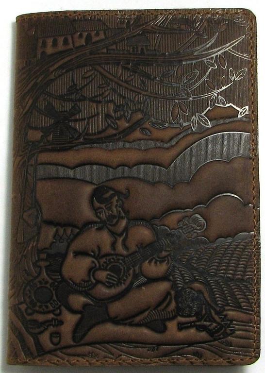 """Кожаная обложка на паспорт - """"Кобзарь"""" (темно-коричневый) - 220 грн. лицевая сторона"""