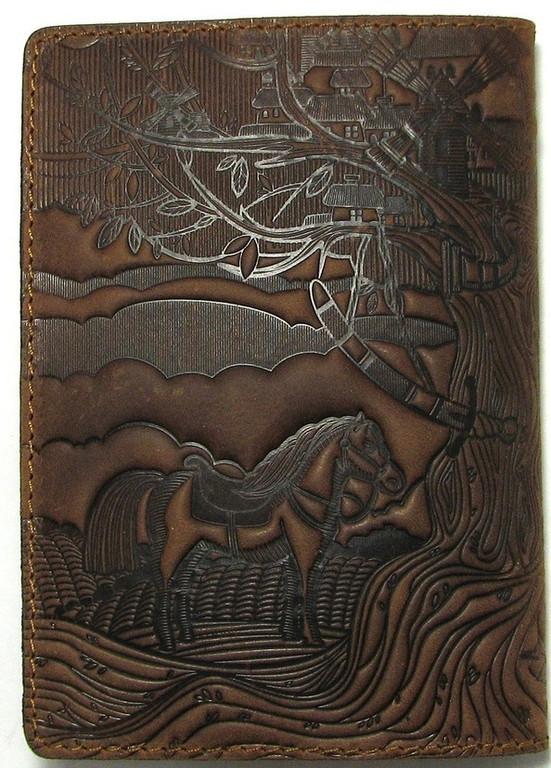 """Кожаная обложка на паспорт - """"Кобзарь"""" (темно-коричневый) - 220 грн. обратная сторона"""
