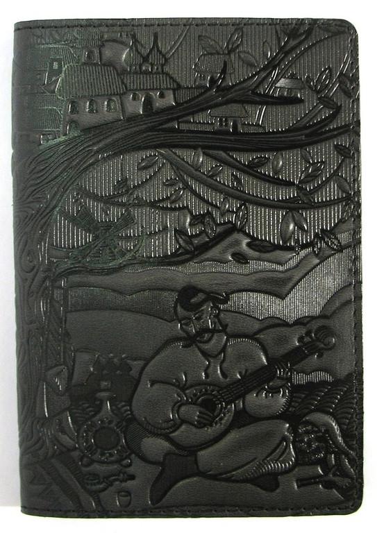 """Кожаная обложка на паспорт - """"Кобзарь"""" (темно-синий-черный) - 220 грн. лицевая сторона"""