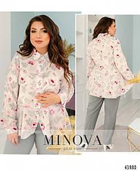 Ніжна блуза батал з привабливим принтом размеры: 50-52,54-56,58-60,62-64,66-68