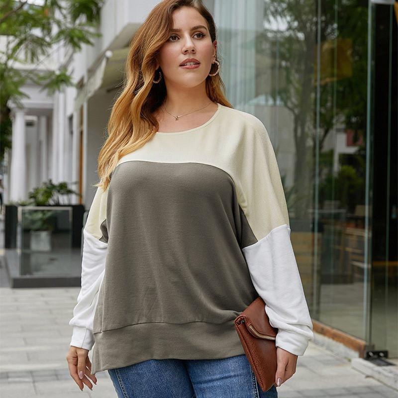 Лонгслив женский из контрастной ткани Ease Berni Fashion PLUS (XL)