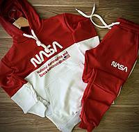 Мужской спортивный костюм с капюшоном, турецкая трехнитка, худи и штаны, цвет красный