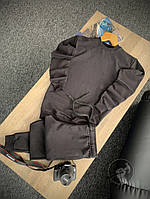 Спортивный костюм мужской без капюшона, турецкая двунитка, комплект для занятия спортом, цвет черный