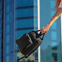 Стильный женский рюкзак с эко-кожи, модный городской рюкзачок для девушек, цвет черный