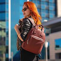 Стильный женский рюкзак с эко-кожи, модный городской рюкзачок для девушек, цвет марсаловый