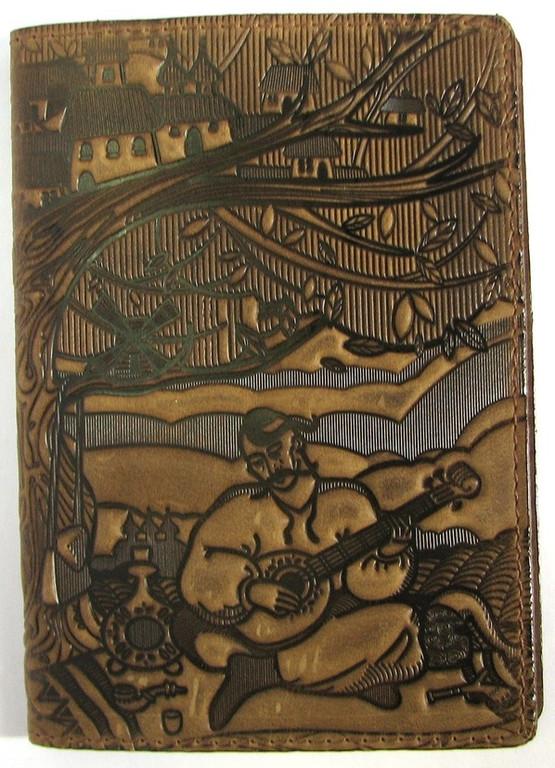 """Кожаная обложка на паспорт - """"Кобзарь"""" (коричневый) - 220 грн. лицевая сторона"""
