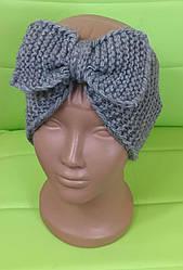 Повязка на голову вязанная для девочки, серый