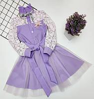 Платье нарядное детское КРУЖЕВО для девочки Сиреневое