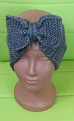 Повязка на голову вязанная для девочки, темно- серый