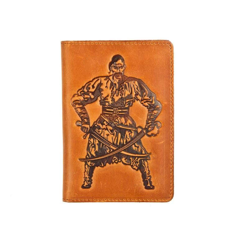 """Кожаная обложка на паспорт - """"Козак"""" (рыжий) - 220 грн. лицевая сторона"""