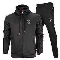 Спортивный костюм весна-осень черный FERRARI с капюшоном K-404 BLK L(Р) 21-653-008