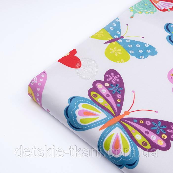 Лоскут ткани с большими разноцветными бабочками (№3291а), размер 42*80 см