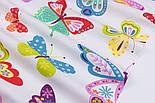 Тканина бавовняна з великими різнокольоровими метеликами (№3291а)., фото 4