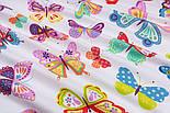 Тканина бавовняна з великими різнокольоровими метеликами (№3291а)., фото 6
