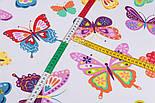 Лоскут ткани с большими разноцветными бабочками (№3291а), размер 42*80 см, фото 5