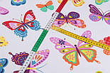 Тканина бавовняна з великими різнокольоровими метеликами (№3291а)., фото 5