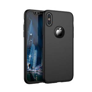 Чехол накладка xCase на iPhone XR Full Cover 360 Logo черный