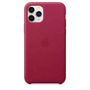 Чохол накладка на iPhone 11 Pro Max Leather Case pink fuchsia