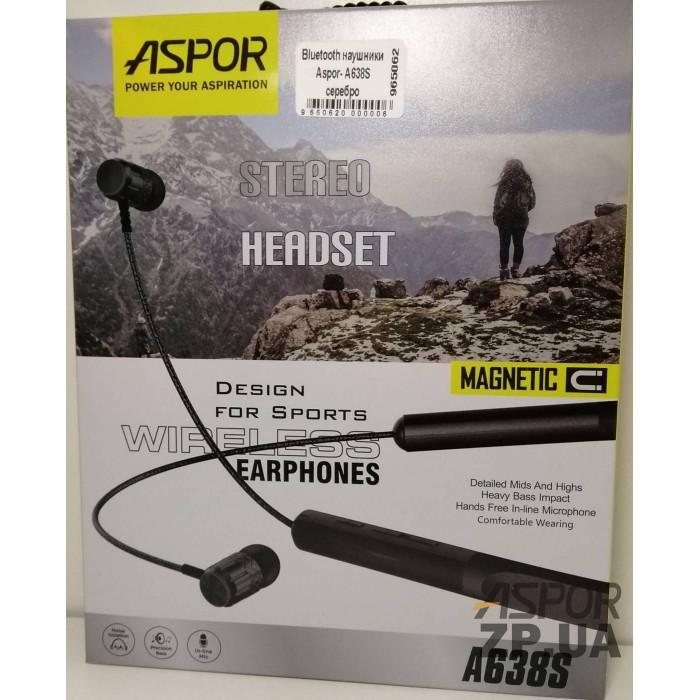 Bluetooth наушники Aspor A638S- серебристый