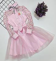 Платье нарядное детское КРУЖЕВО для девочки Розовое с золотом