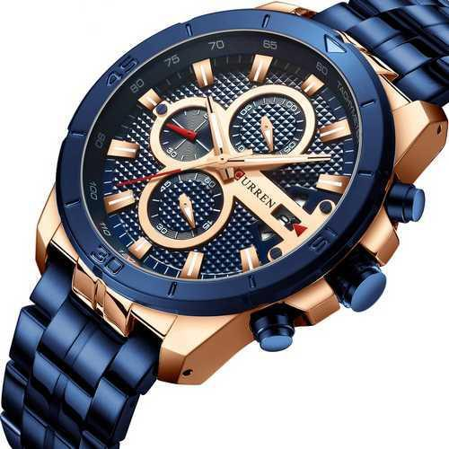 Наручні чоловічі годинники Curren 8337 Blue-Cuprum