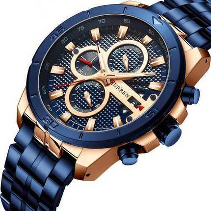 Наручні чоловічі годинники Curren 8337 Blue-Cuprum, фото 2