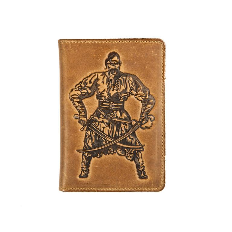 """Кожаная обложка на паспорт - """"Козак"""" (коричневый) - 220 грн. лицевая сторона"""