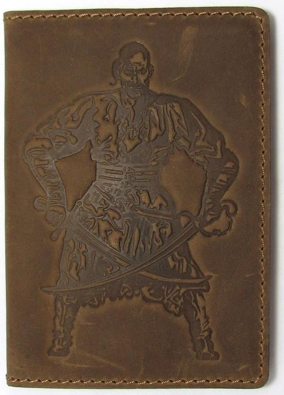 """Кожаная обложка на паспорт - """"Козак"""" (темно-коричневый) - 220 грн. лицевая сторона"""