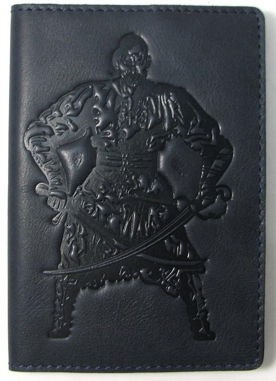 """Кожаная обложка на паспорт - """"Козак"""" (темно-синий) - 220 грн. лицевая сторона"""