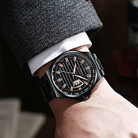 Чоловічий наручний годинник металевий Curren 8375 All Black Гарантія: 12 місяців