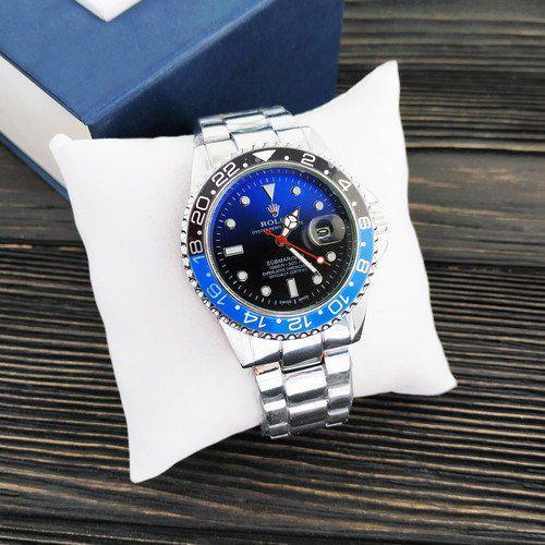 Мужские наручные часы Ролекс Rolex Submariner 6478 Silver-Black-Blue-Black.Мужские кварцевые часы Ролеск