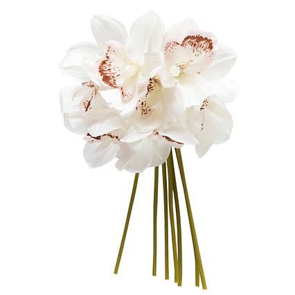 Искусственный цветок мини-орхидея, 30 см, белый, ткань, пластик (631260)