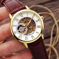 Шкіряні чоловічі наручні годинники Forsining 8099 Brown-Gold-White /Чоловічий наручний годинник