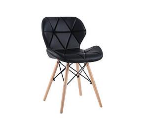 Черный стул Стар SDM мягкое сидение на деревянных ножках обеденный для гостиной