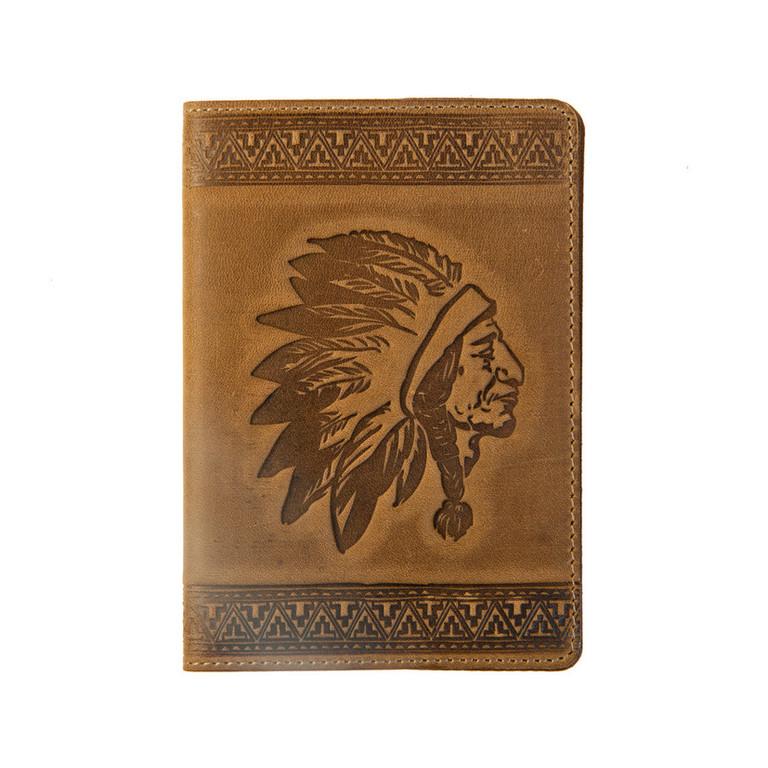 """Кожаная обложка на паспорт - """"Индеец"""" (коричневый) - 220 грн. лицевая сторона"""