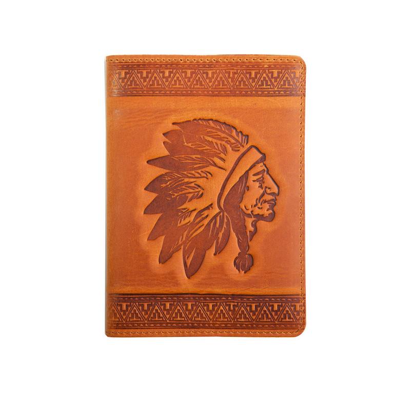 """Кожаная обложка на паспорт - """"Индеец"""" (рыжий) - 220 грн. лицевая сторона"""