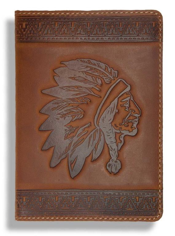 """Кожаная обложка на паспорт - """"Индеец"""" (темно-коричневый) - 220 грн. лицевая сторона"""
