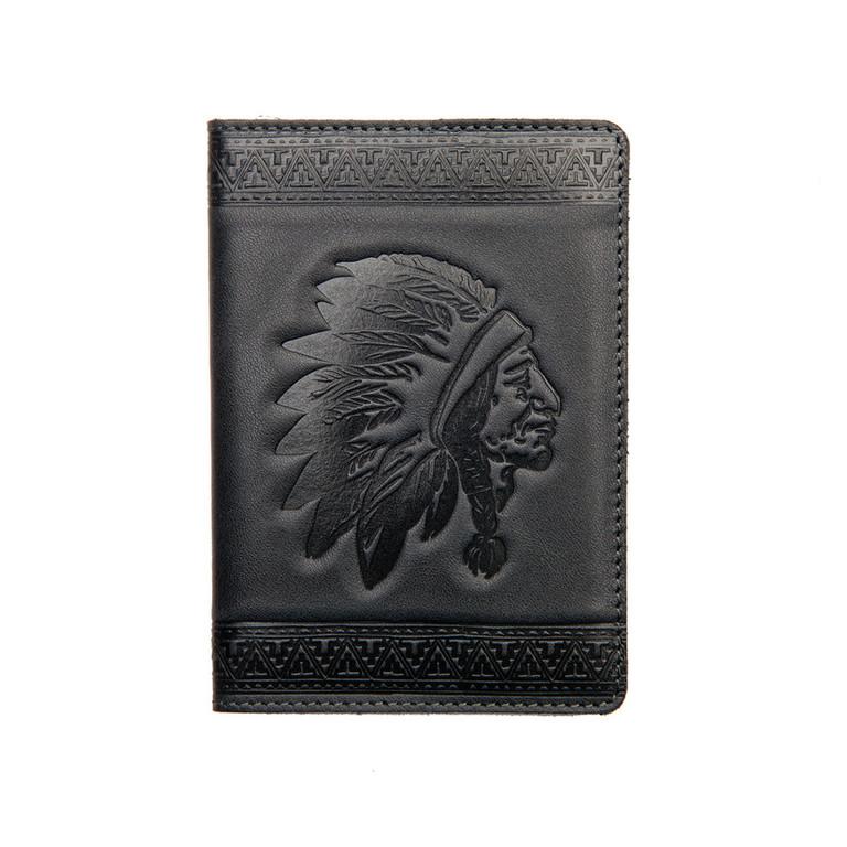 """Кожаная обложка на паспорт - """"Индеец"""" (темно-серый) - 220 грн. лицевая сторона"""