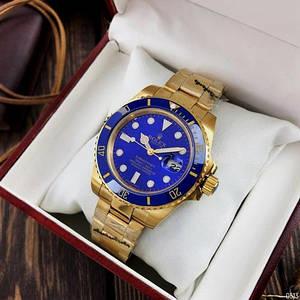 Чоловічі наручні годинники на механіці Rolex Submariner AAA Date Gold-Blue Золотий годинник