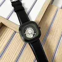 Мужские наручные часы черные Sevenfriday Leather Green-Black .Часы наручные .Мужские часы