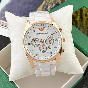 Жіночі наручні годинники з підсвічуванням Emporio Armani AR-5905 Gold-White Silicone Білі жіночі годинники
