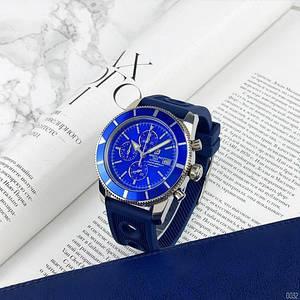Чоловічі наручні годинники синій циферблат Breitling A23870 Chronographe Blue-Silver Сервіс сталь