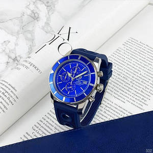 Мужские наручные часы синий циферблат Breitling A23870 Chronographe Blue-Silver Часовая сталь